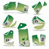 green vector tag and sticker set with bar codes