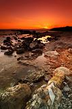 Rocky seascape sunset