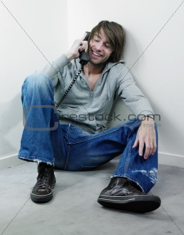 Casual young man on phone
