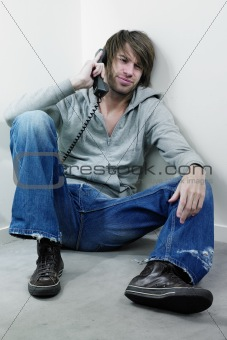 Angry man at phone