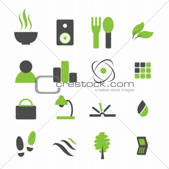 Green symbol icon set for company logo