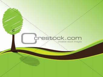 Green tree on a green field
