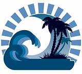 Waves, moon,  tropical island