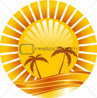 Abstract tropical sun icon