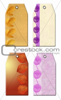 Gift tags with ornamental elements.