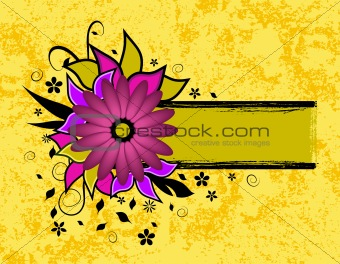 grunge flower text frame