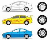 car and tire graphic
