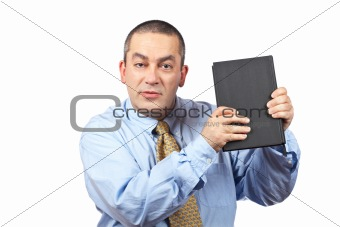 Business man holding a book