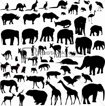 Image Description: Lots of Animal vector silhouettes