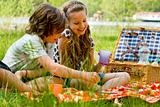Kids having fun while picnicking