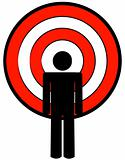 stick figure with target head