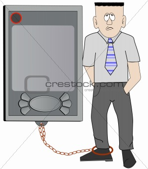 business man chained to his pda