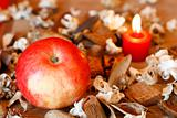Apple,dried plants and burning heart