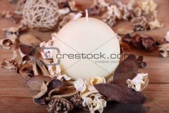 Candle and dried plants