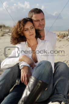 beautiful couple on the seashore