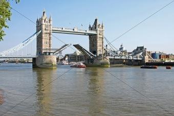 Tower bridge in London open