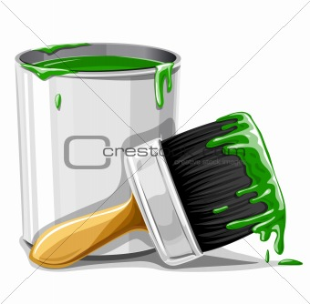 vector brush with green paint and bucket isolated
