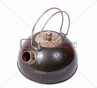 Old and dirty kettle isolated on white