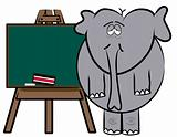 elephant cartoon standing at chalkboard