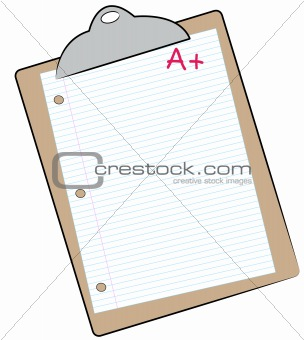 clipboard with paper marked with A+