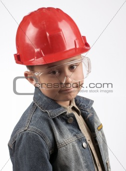 Boy in a red helmet