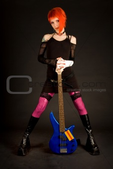 Romantic girl with bass guitar