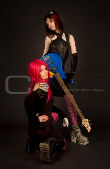 Two girls with guitar, smoking