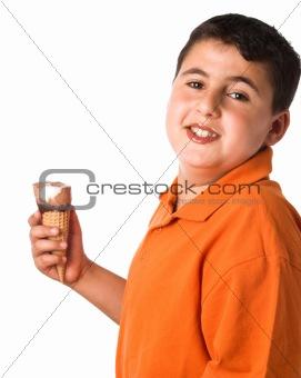 boy enjoying ice cream