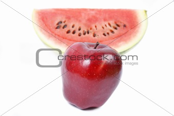 Apple and watermelon isolated on white background