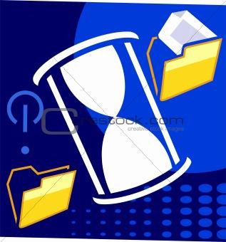 Folder and hourglass