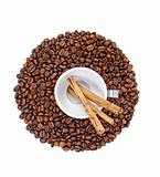 Coffee beans,white cup and cinnamon sticks isolated on white