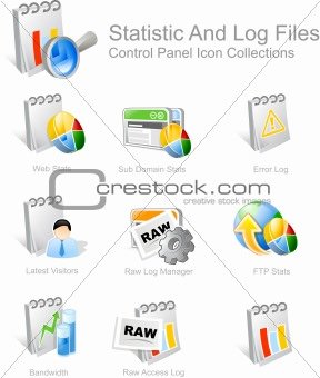 STATISTIC AND LOG FILES ICONS