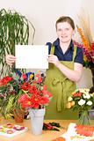 Florist with blank card