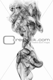 Black smoke isolated on white background