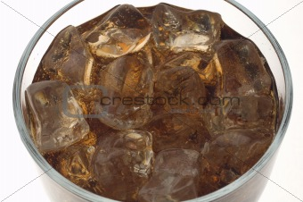 Close up of cola with ice