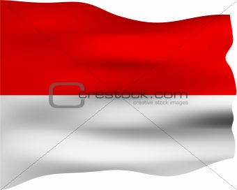 3D Flag of Indonesia