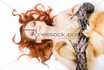 Portrait of young redhair girl