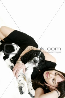 attractive woman with her puppy