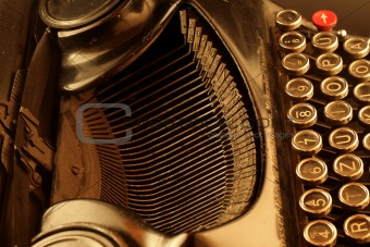 Old typewriter in sepia
