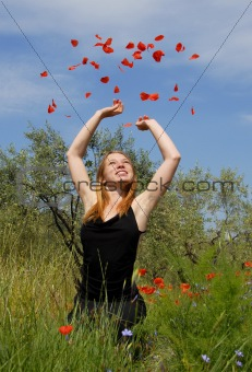 teenager and poppies