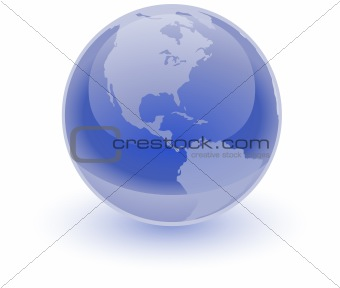 Glossy Blue Earth Sphere
