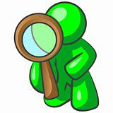 Green Man Looking Through Magnifying Glass