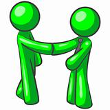 Green Man Shaking Hands and Marketing