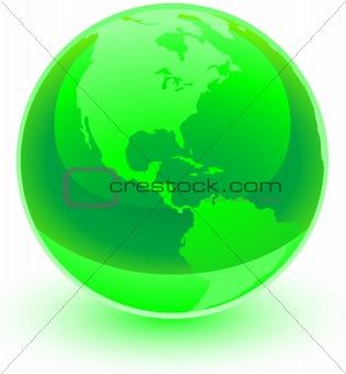 A green glossy globe.
