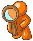 Orange Man Looking Through Magnifying Glass