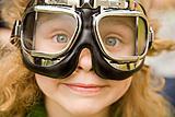 Girl in motorcycle glasses