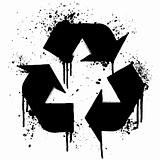 Recycle symbol ink splatter