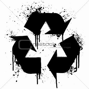 Recycle symbol ink splatter