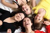 Four girls friends have fun