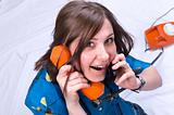 Girl on two phone red(orange) and black